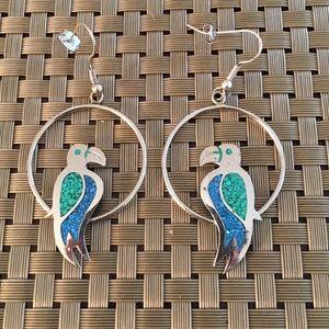 Alpaca Mexico Silver Enamel Parrot Earrings